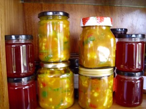 Piccalilli and Quince Jelly.